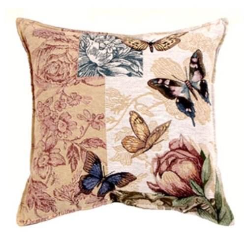 Simply Home Butterfly Floral Collection Tapestry Throw Pillow front-971590
