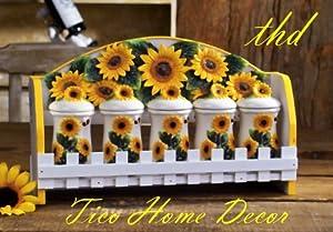 Amazon Com Kitchen 5pc Spice Rack Mounted Wall Sunflower