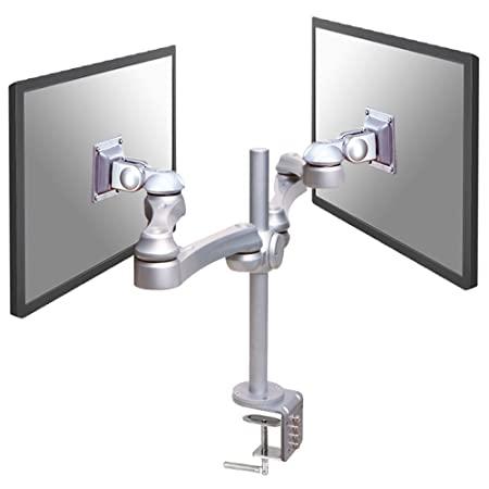 "Newstar Full Motion Dual Desk Mount (clamp) for two 10-30"" Monitor Screens, Height Adjustable - Silver"