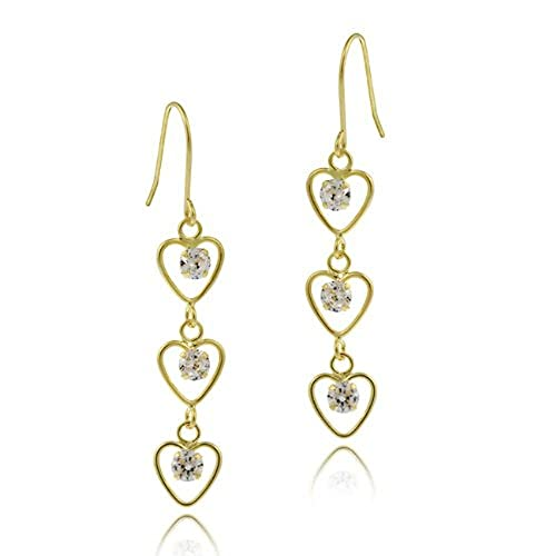 10K Gold Cubic Zirconia Triple Heart Dangle Earrings