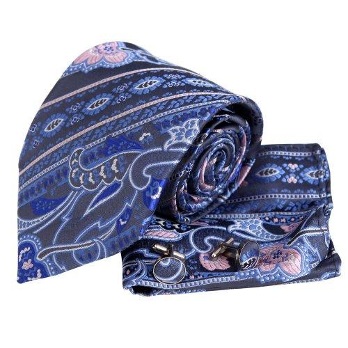 H5005 Gray Paisley Fashion Gift Idea For Boyfriend Silk Necktie Cufflinks Hanky Set 3PT By Y&G