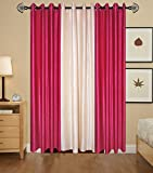 Indian Online Mall Plain Door Curtain (Pack of 2), Dark Pink and Cream