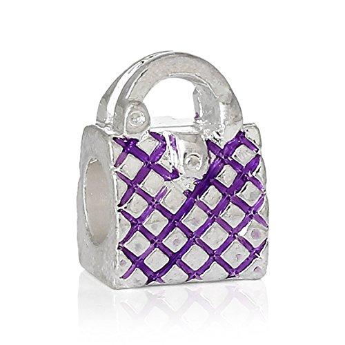 SEXY SPARKLES-Borsa da donna per bracciale, con ciondolo a forma di borsetta con perle, argento-placcato-base, colore: purple handbag, cod. Pandora Charm Compatible