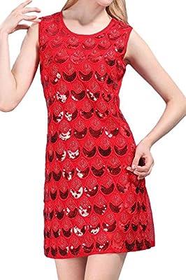 Vijiv Women's Sequin Braid Scalloped Flapper Party Dress