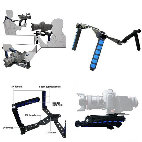 ePhoto Premium DSLR Rig Movie Kit Shoulder Rig Mount, Shoulder Support Pad for Video Camcorder Camera DV DSLR Cameras, Canon 5D MK II , 7D , 60D ,600D (T3i), Nikon D90 D7000 D5100 D3100 D300s, Sony A6
