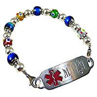 "Medical Alert Mood Bead Bracelet, FREE Engraving, Sizes 6.75"" to 9.5"" by Creative Medical ID"