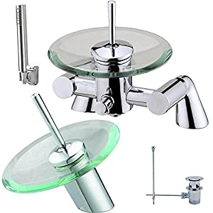 Bath Shower & Basin Mixer Tap Set Glass and Chrome Waterfall Taps Bathroom 1R       Customer reviews and more information