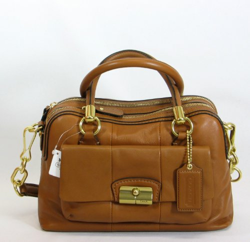 NEW AUTHENTIC COACH KRISTIN LEATHER SATCHEL SHOULDER BAG (Brown/Brass)