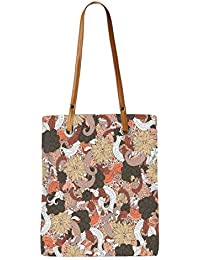Snoogg Mixed Flower Pattern Womens Digitally Printed Utility Tote Bag Handbag Made Of Poly Canvas With Leather...
