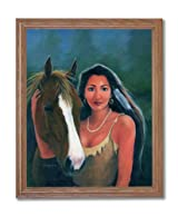 Native American Indian Girl With Horse Home Decor Wall Picture Oak Framed Art Print