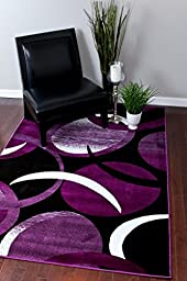 1062 Purple White 5\'2x7\'2 Area Rug Abstract Carpet
