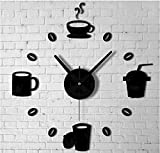 Black kitchen mirror clock wall decal coffer time cup decoration modern design for living room bedroom 60*45cm