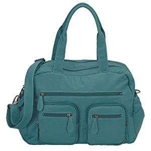 Faux Buffalo Carry-All Tote Diaper Bag by Oi Oi - Turquoise
