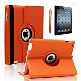 Zeox 360 Degree Rotating iPad 2 Case (Orange) Folio Convertible Cover Multi-angle Vertical and Horizontal Stand with Smart On/Off for the Apple iPad 2/iPad 3/iPad 4 (Orange)