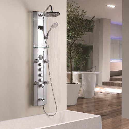 Why Choose Multi Function Thermostatic Shower Tower Massage Panel With Over Head Shower, Handset, 5 ...