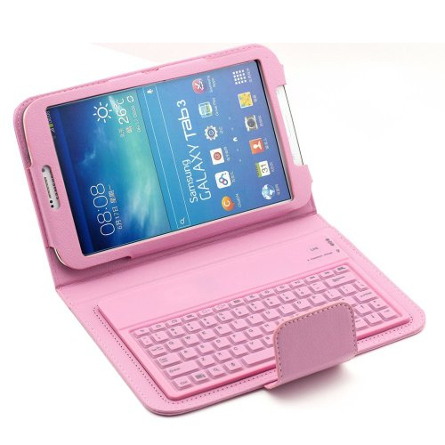 Tpcromeer Samsung Galaxy Tab 3 8.0 Inch T310/T311 Stand Leather Case & Wireless Bluetooth Silicone Keyboard - Pink