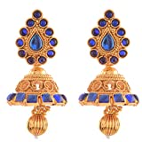 Ganapathy Gems 1 Gram Gold Plated Traditional Jhumki With Blue Stones (6967)