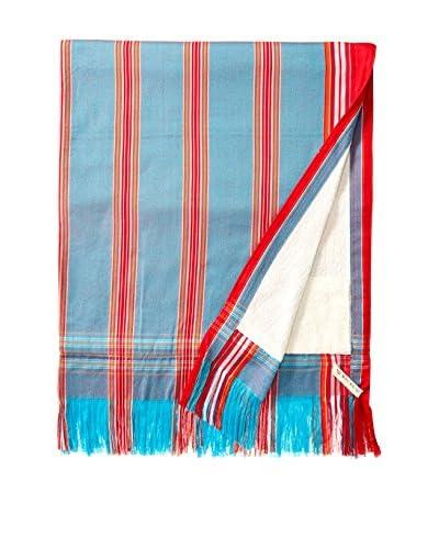 Nomadic Thread Sarong Towel, Powder Blue/Red Stripe