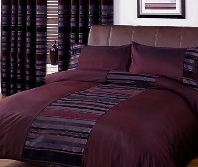 Striped Duvet Quilt Cover - Contemporary Chenille Bedding Bed Set Parent Parent