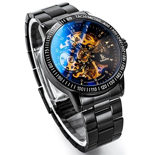 Alienwork IK mechanische Automatik Armbanduhr Skelett schwarz 98226-12 4