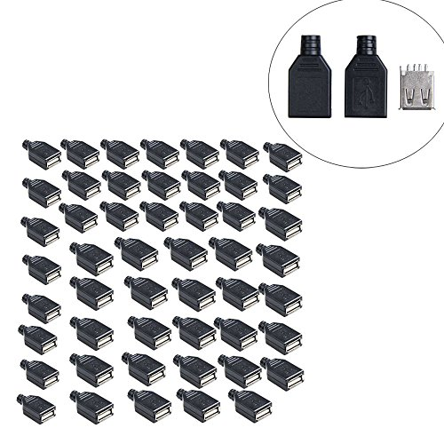 Vktech 50Pcs Type A Female USB 4 Pin Plug Socket Connector with Plastic Cover