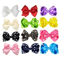 Hipgirl Boutique Girls 12pc 3.5-4 Wide Boutique Hair Bow Clips Barrettes. Colors Might be Different From Image Shown