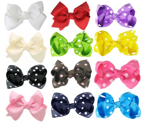 Hipgirl Boutique Girls 12pc 3.5″-4″ Wide Boutique Hair Bow Clips, Barrettes.