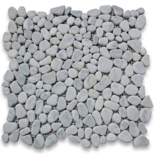 Carrara White Italian Carrera Marble River Rocks Pebble Mosaic Tile Tumbled