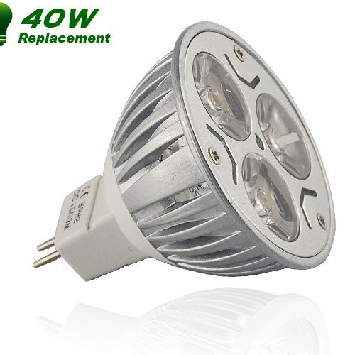 10 x 12v MR16 LED BULBS 3W ENERGY SAVING IN DAY WHITE ** SUPER BRIGHT MR16 LED SPOT LAMPS - USE ONLY 3 WATTS TO REPLACE 40W - 50W HALOGEN BULBS **