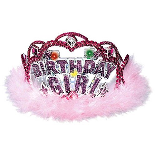 "Amscan Elegant Tiara with Flashing Lights, Silver/Magenta/Pastel Pink, 5.5""x5.5""x3.5"""