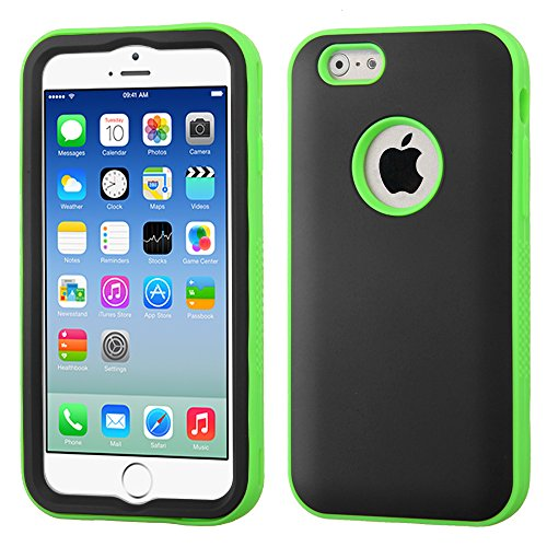 Phonetatoos (Tm) For Iphone 6 (4.7-Inch) Rubberized Black/Lightning Electric Green Verge Hybrid Protector Cover - Lifetime Warranty