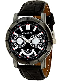 Golden Bell Original Chronograph Look Black Dial Black Strap Wrist Watch For Men
