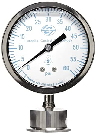 "Lumenite LSPG-LM-F-C1-1/2""-60PSI Glycerine Filled Sanitary Pressure Gauge, Lower Mount, 0-60 psi, Analog Display, +/- 1% Accuracy, 1-1/2"" Tri-clamp"