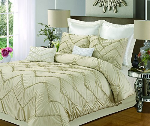 Chic Home Isabella 4-Piece Duvet Cover Set, Queen, Champagne front-965468