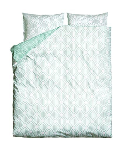 Retro Geometric Duvet Quilt Cover 3Pc Set King Or Queen 100% Cotton Reversible Beehive Turquoise And White (Full/Queen) front-765137
