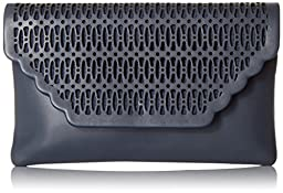 La Regale Latice Laser Cut Envelope Clutch, Navy, One Size