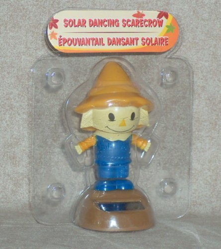 Solar Powered Dancing SCARECROW (Blue Outfit / Brown Base) in Bubble Package