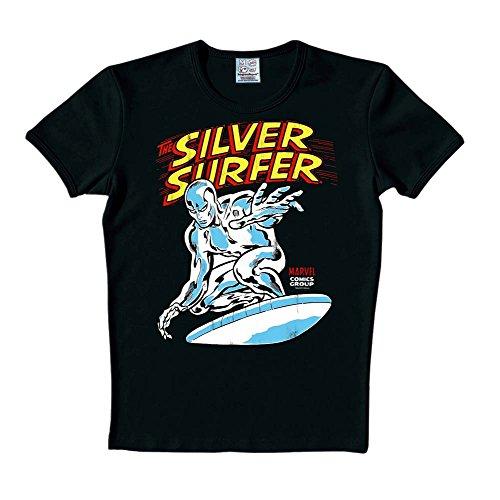 Silver Surfer - T shirt Marvel - Stampa a colori - Cotone - Nero - L