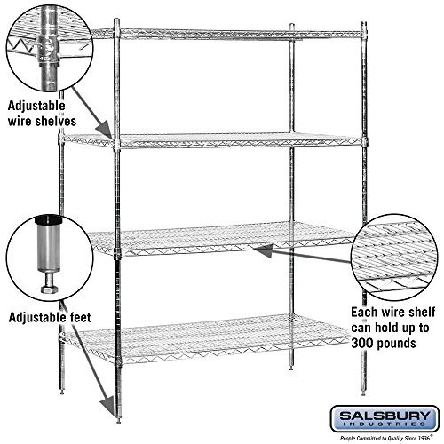 salsbury industries stationary wire shelving unit 48 inch. Black Bedroom Furniture Sets. Home Design Ideas