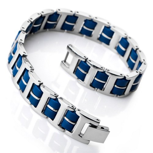Justeel Men Silver Stainless Steel Bangle Bracelet Chain Blue Rubber , (Width x Length: 0.47 x 8.54 inches)