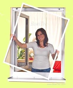 Insektenschutzrahmen 100x120cm Fliegengitter Insektenschutz-Fenster Alu-Rahmen Bausatz weiß braun (braun)