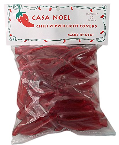Red Chili Pepper Christmas Light Covers Set of 35 - Fit Over Mini Christmas Lights - Great for International Use (Mini Chili Pepper Lights compare prices)
