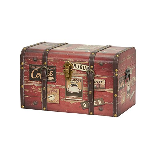 Household Essentials 9245-1 Medium Decorative Home Storage Trunk - Luggage Style - Coffee Shop Design