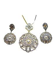 Poddar Jewels Cubic Zirconia Designer Pearl Pendant Set With Chain