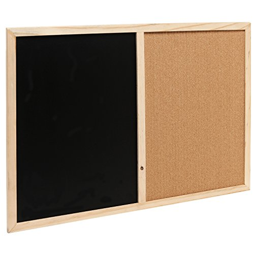 Wall mounted wooden black chalk board cork board message for Office display board