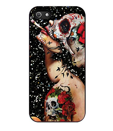 Floral Sugar Skull Tattooed Cases Cover iPhone 5/5S A6P8LY
