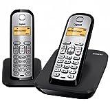 Siemens Gigaset SIAS290NDUO - Teléfono fijo inalámbrico dúo, capacidad guía telefónica 80, color negro y plata