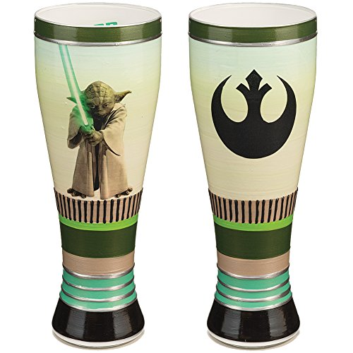Star Wars Yoda And Jedi Emblem Hand Painted 20 Oz Hand Crafted Pilsner Glass