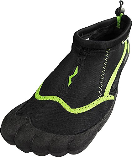 Norty - Ladies Skeletoe Aqua Water Shoes for Pool Beach, Surf, Snorkeling, Exercise Slip on Sock, Black, Lime 38863-8B(M)US