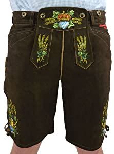 Wiesnkonig Original Oktoberfest Lederhosen, Dark Brown from Wiesnkonig